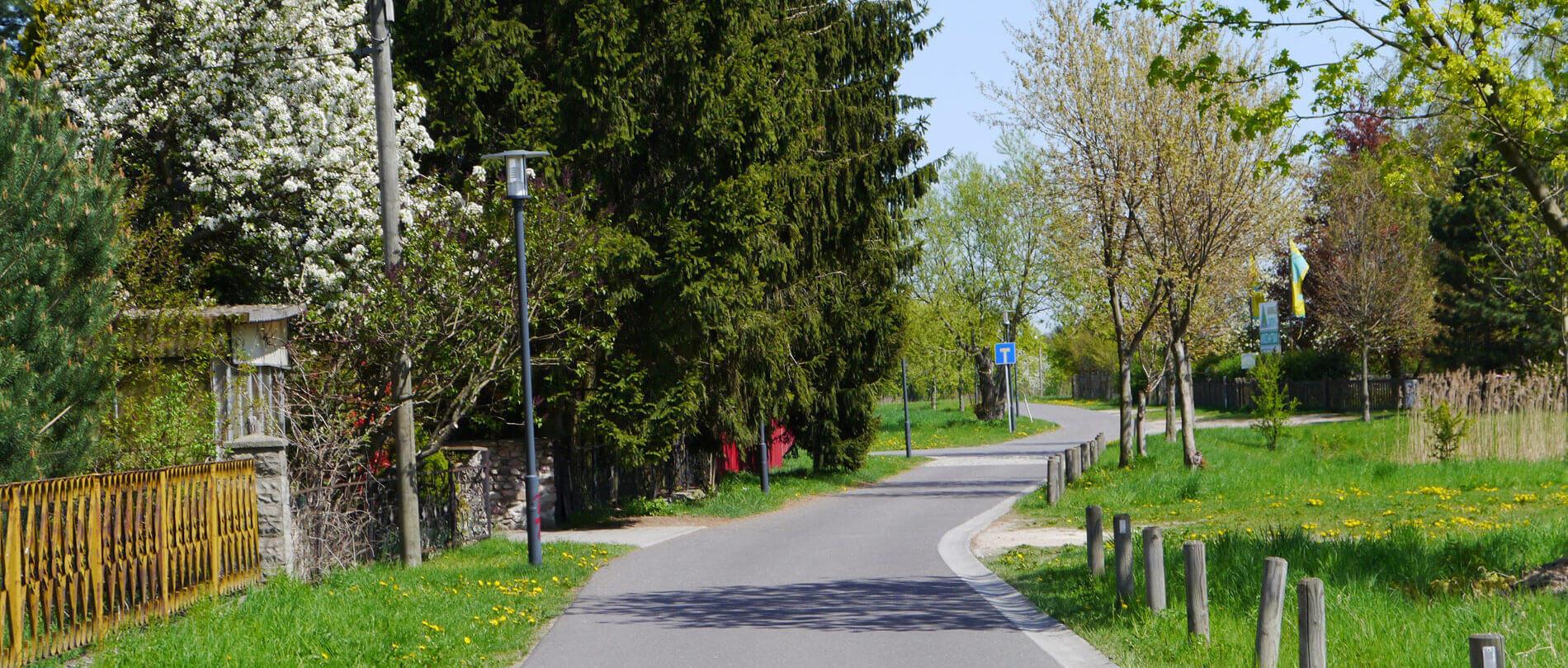 Kleine Straße mit vielen Bäumen und blühenden Büschen