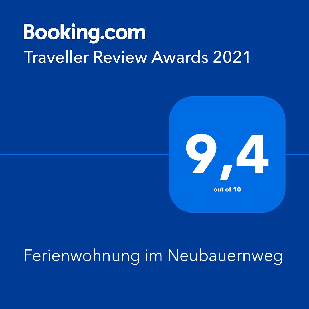 Bewertung von 9,4 von 10 Punkten bei Booking.com 2021